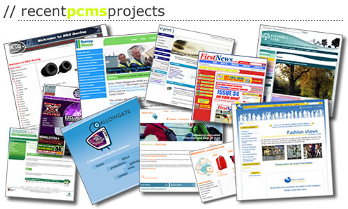 Recent PCMS projects - RG Racing Products, Surrey Waste Management, XL Print Europe, First News, Painshill Park, Surrey County Council, Gallowgate TV, Tech air, Melbry Events Management